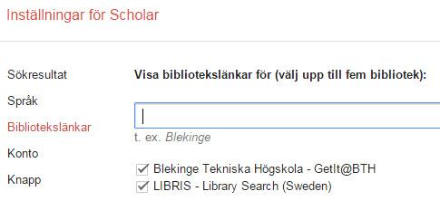 Inställningar google scholar