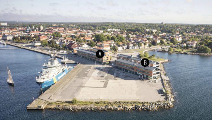 Flygfoto över Campus Karlshamn, med kartsymboler