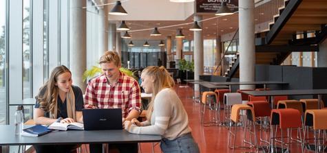Tre studenter diskuterar vid bord med laptop