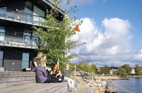 Foto på 5 studenter som sitter vid bryggan i Campus Karlshamn