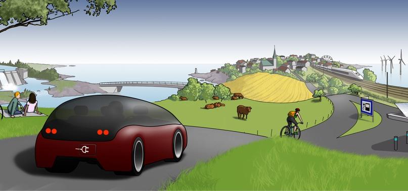 Illustration av en e-bil på en landsväg