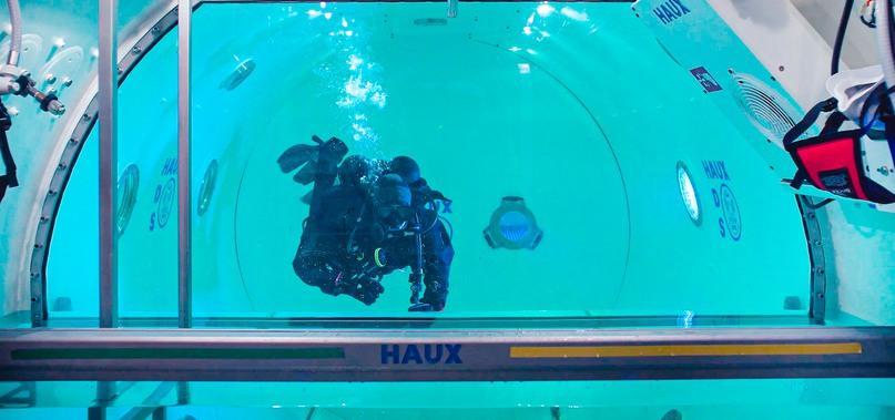 Fotografi på dykare i tank