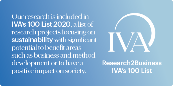 Image with text about BTH's research included in IVA's 100 List 2020