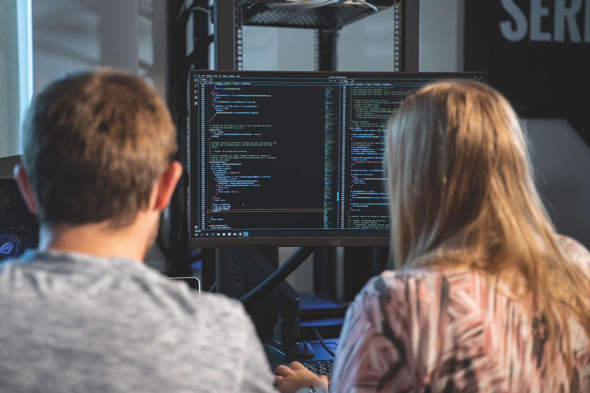 Studenter arbetar med mjukvara vid bildskärm