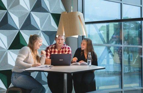 Studenter arbetar vid ett bord